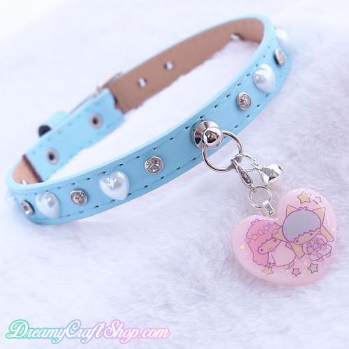 Light Blue Pearl Heart Faux Leather Collar (11-13 inches)