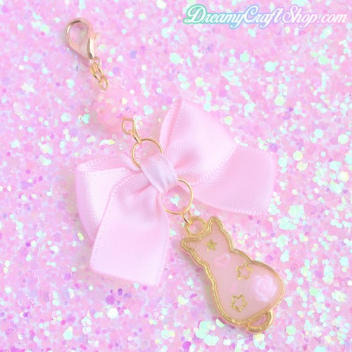 Pink Bow Kitten Phone Charm