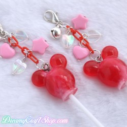 Mickey Lollipop Phone Charm (Red)