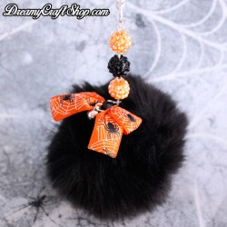 Spooky Black Puff Ball Keychain