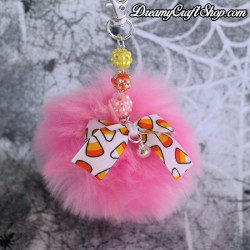 Spooky Pink Puff Ball Keychain