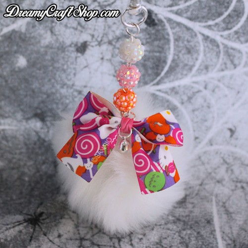 Spooky White Puff Ball Keychain