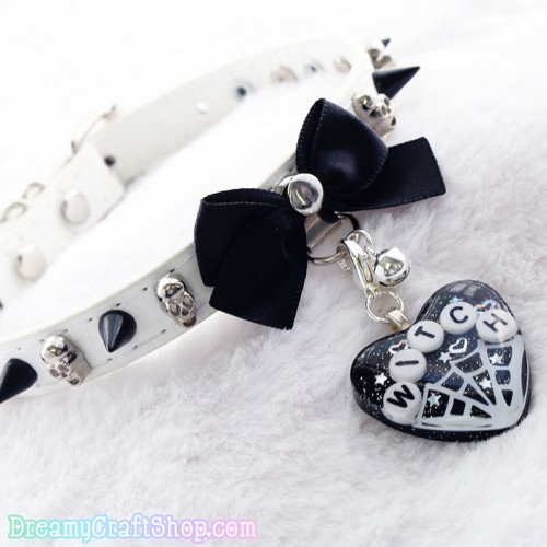 11-14 Inches Black and White Witch Collar