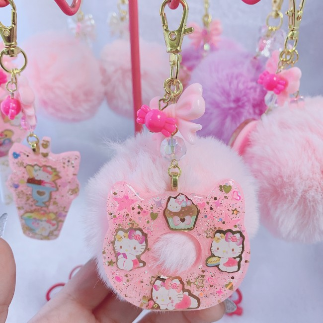 Kitty Donut Faux Fur Charm (Pink)