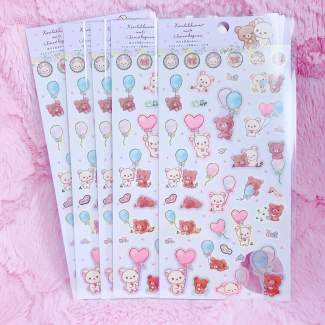 Korilakkuma Meets Kogumachan Sticker Sheet (White)