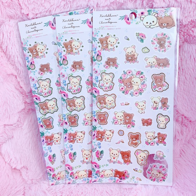 Korilakkuma Meets Kogumachan Sticker Sheet (Pink)