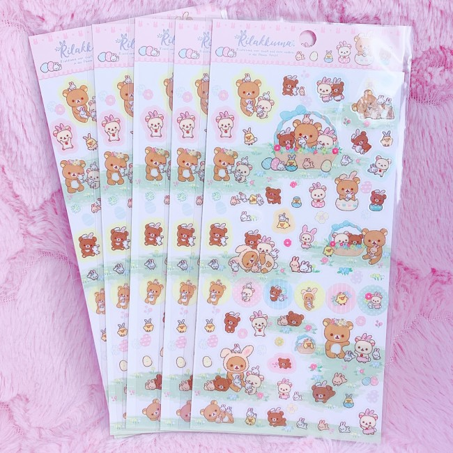 Rilakkuma Rabbits Sticker Sheet (White)