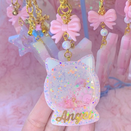Angel Kitty Shaker Globe Charm