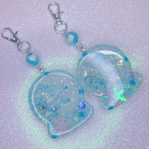 Blue Winter Globe Keychain