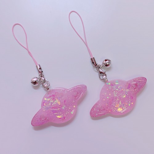 Glow Holographic Planet Strap Charm (Pink)
