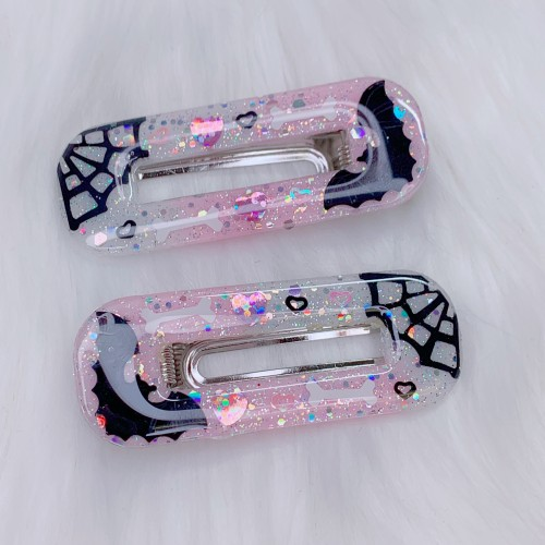 "Pink White Spooky Hair Clips ""B"""