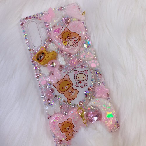 Galaxy Note 10 Plus Rilakkuma Neko Grip Rhinestone Case