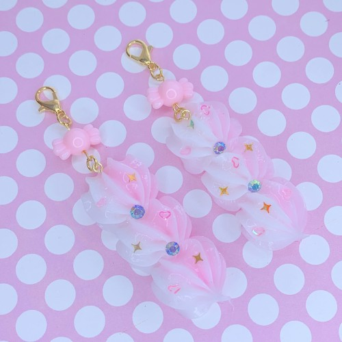 Pink and White Whip Charm (Gold)