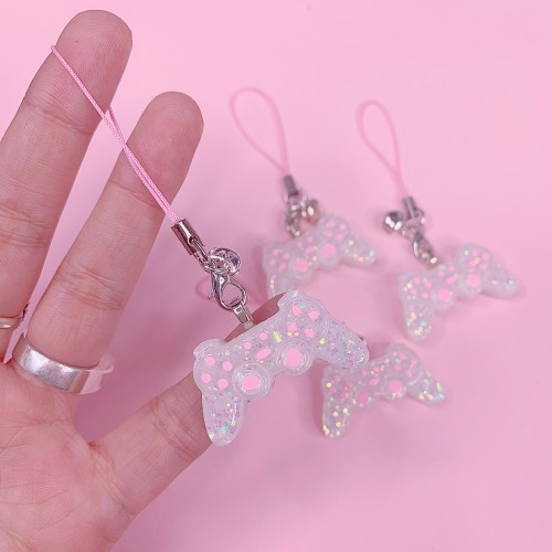 White Pink Controller Strap Charm