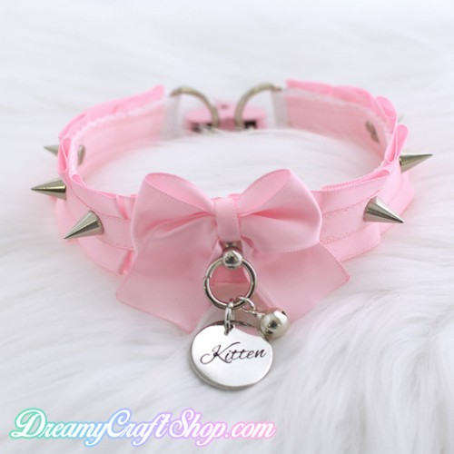 Kitten Spiked Thin Collar (PINK)